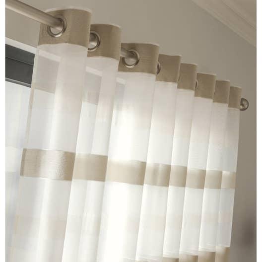 voilage tamisant grande largeur edimbourg ivoire x cm leroy merlin. Black Bedroom Furniture Sets. Home Design Ideas
