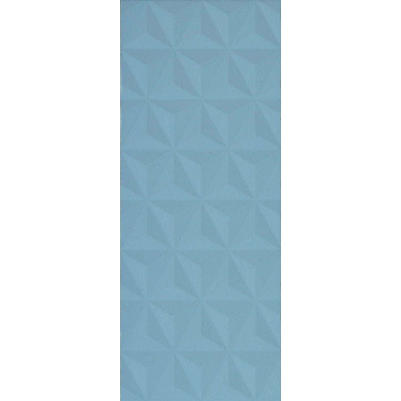 Faience Mur Bleu Baltique N 3 Decor Loft Facette Mat L 20 X L 50 2