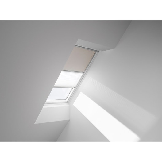 store fen tre de toit duo occultant pliss beige velux dfd u04 leroy merlin. Black Bedroom Furniture Sets. Home Design Ideas
