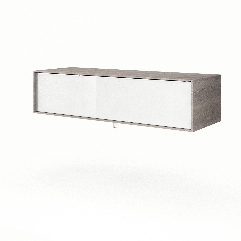 Meuble Tele Tv Design Blanc Et Bois De Frane Joshua Avec Foyer ...