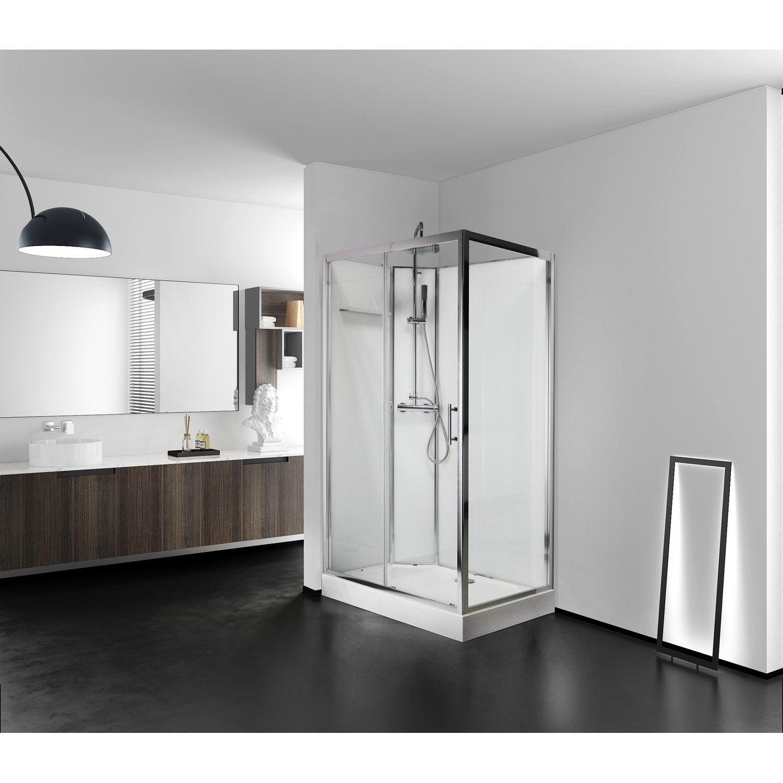 cabine de douche l.110 x l.80 cm blanc, lys