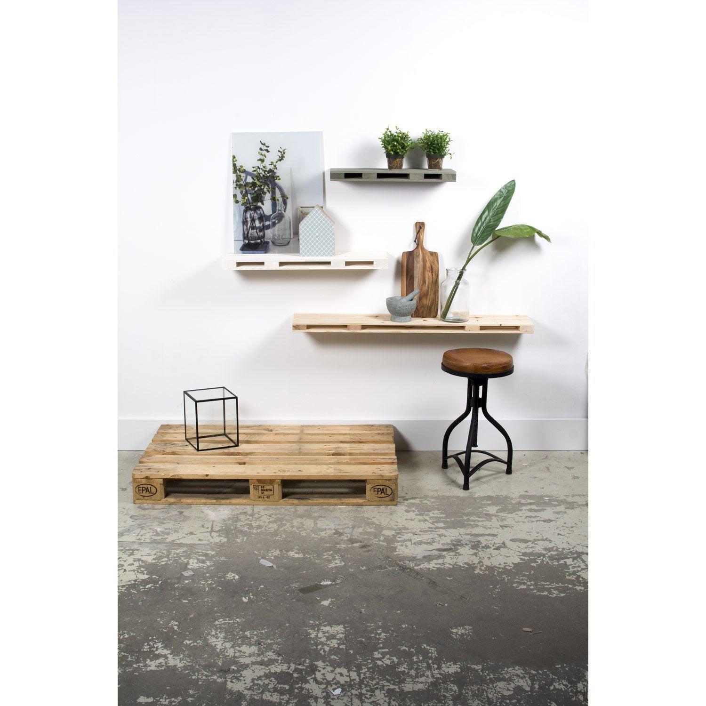 etagère palette gris brut, l.60 x h.5 x p.23.5 cm, ep.50 mm | leroy