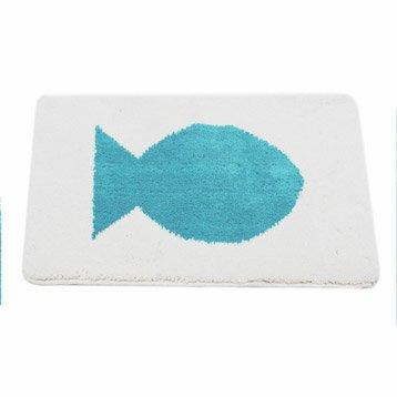 Tapis de bain l.55 x L.85 cm bleu atoll n°4, Soft SENSEA