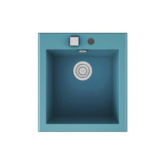 Evier encastrer quartz et r sine bleu shira 1 cuve for Evier resine 1 cuve
