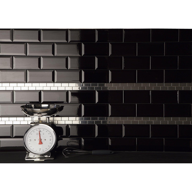 Faïence mur noir, Métro l.7.5 x L.15 cm | Leroy Merlin