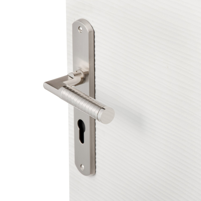 poign e de porte eden trou de cylindre zinc nickel 195 mm leroy merlin. Black Bedroom Furniture Sets. Home Design Ideas