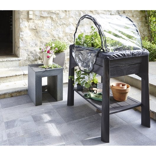 potager sur pieds eda plastiques vegtable gris x x cm leroy merlin. Black Bedroom Furniture Sets. Home Design Ideas