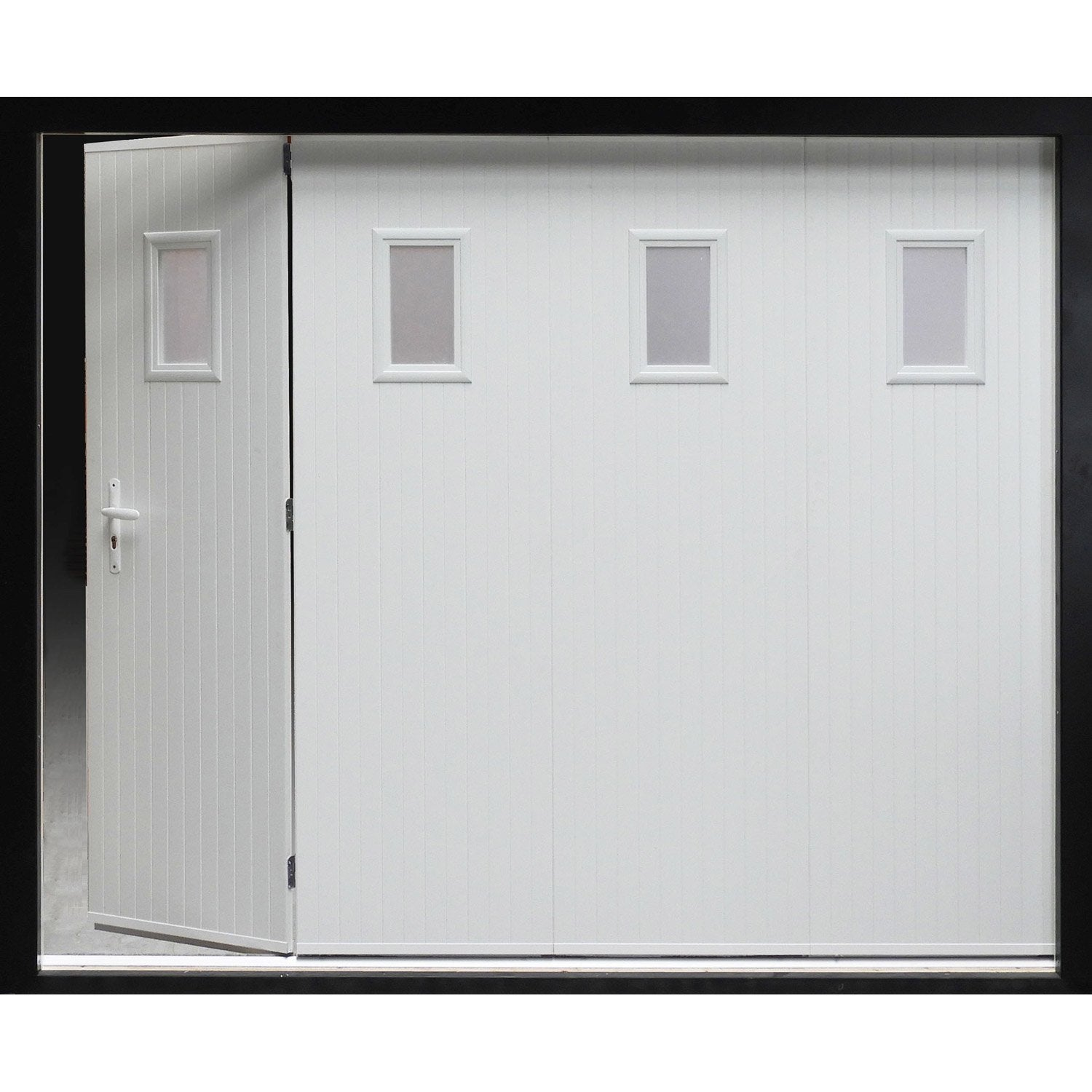 Porte de garage coulissante manuelle artens x for Porte de garage sectionnelle avec portillon sur mesure