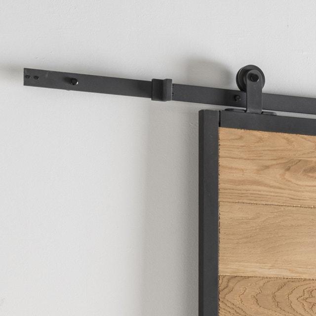 Style industriel pour une porte coulissante en bois et alu - Rail porte coulissante suspendue leroy merlin ...