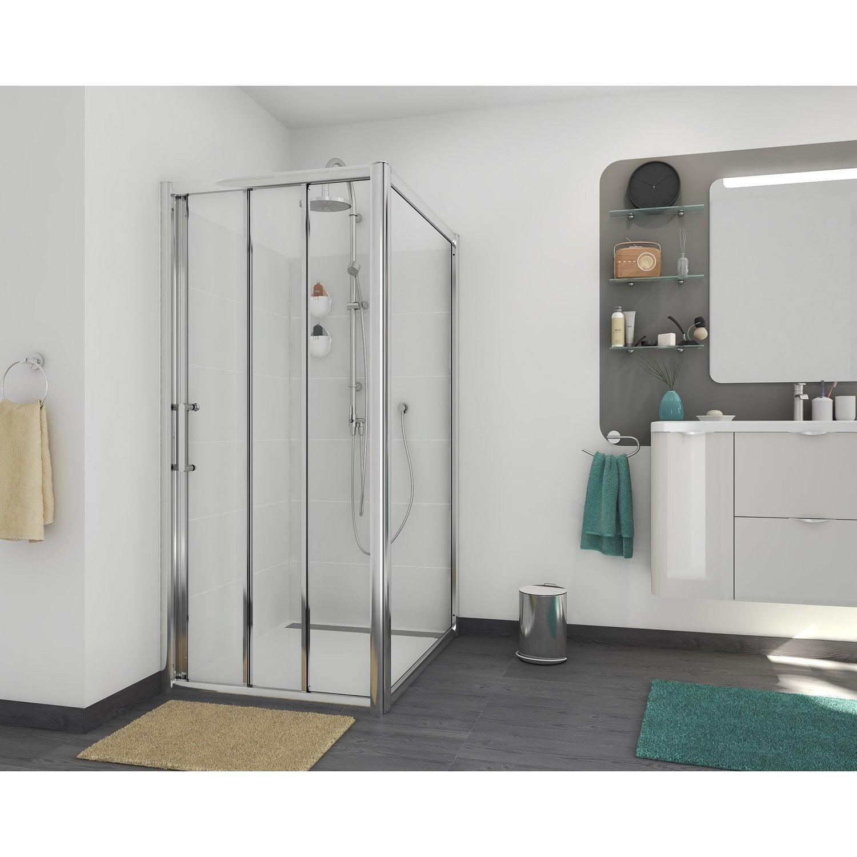 Porte de douche coulissante 100 cm, transparent, Quad | Leroy Merlin