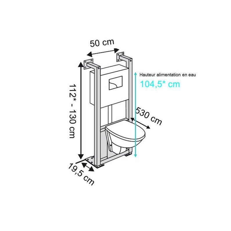 Dimension toilette suspendu
