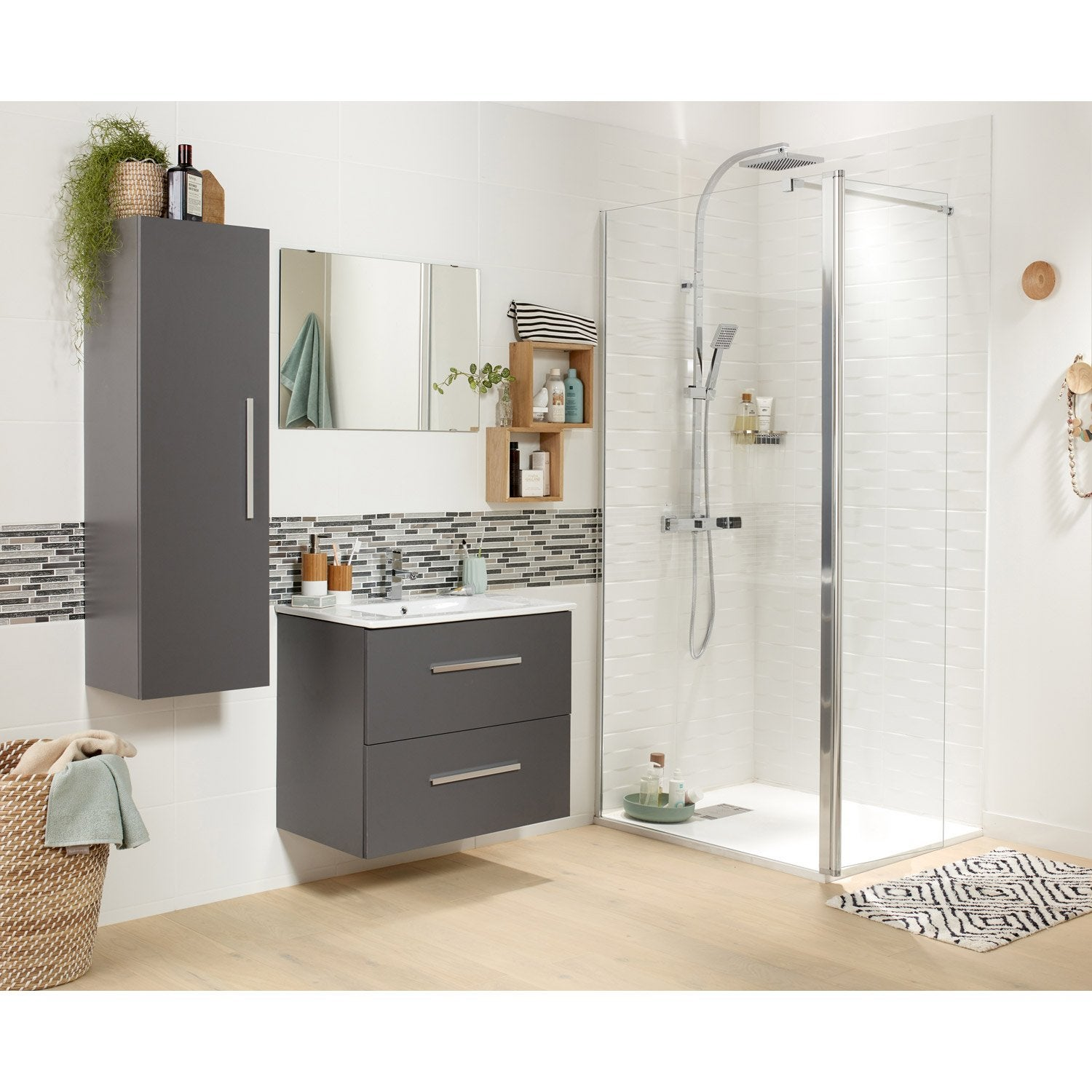 meuble vasque gris 70 cm avec miroir carla leroy merlin. Black Bedroom Furniture Sets. Home Design Ideas
