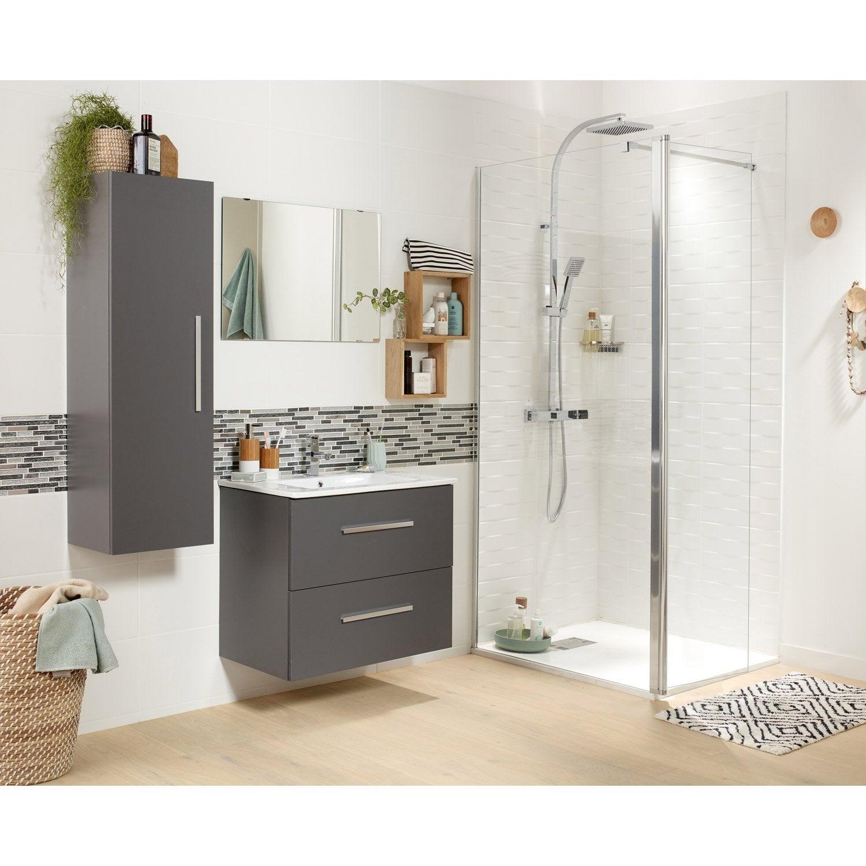 Meuble vasque gris 70 cm avec miroir Carla