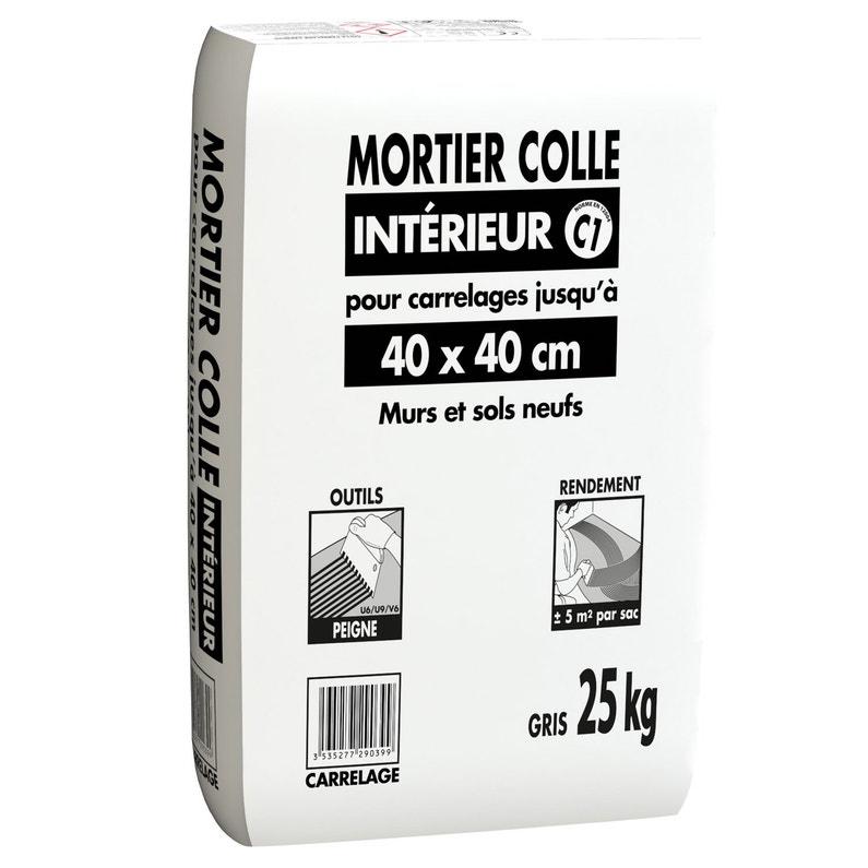 Mortier Colle Poudre Gris 25 Kg 5 M²
