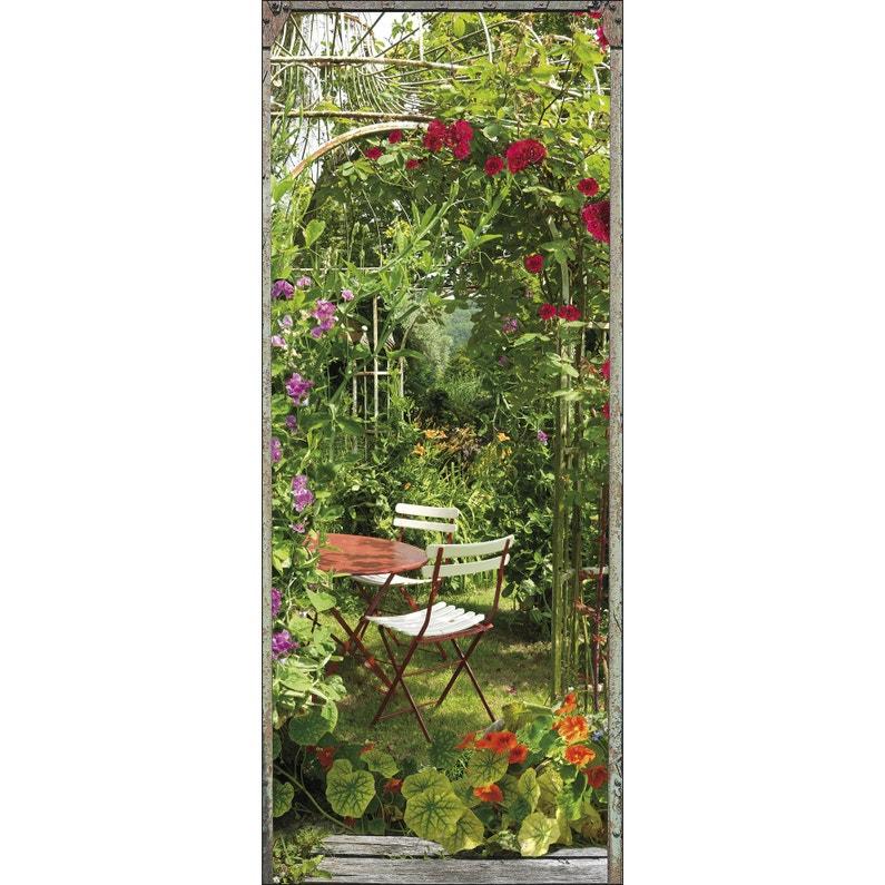 Sticker porte Jardin fleuri 83 cm x 204 cm