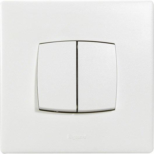 double interrupteur va et vient neptune legrand blanc. Black Bedroom Furniture Sets. Home Design Ideas