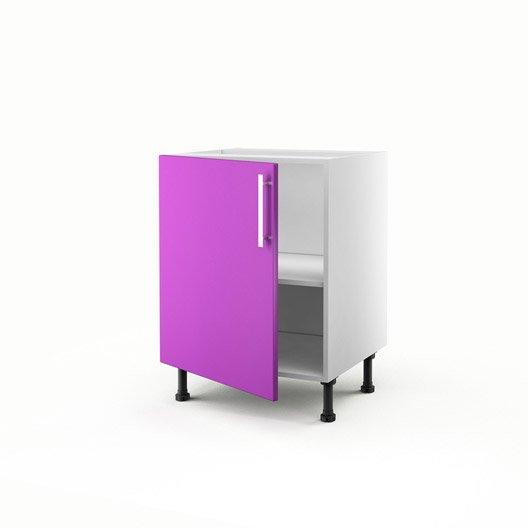 Meuble de cuisine bas violet 1 porte d lice h70xl60xp56 for Meuble cuisine violet