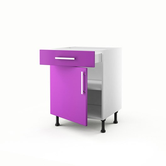 Meuble de cuisine bas violet 1 porte 1 tiroir d lice h for Meuble cuisine violet