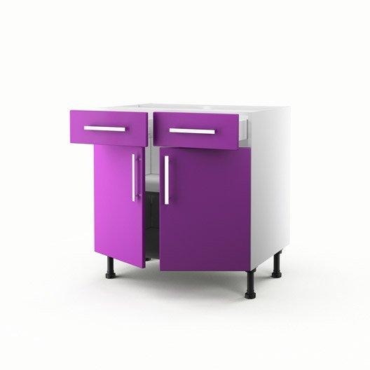 Meuble de cuisine bas violet 2 portes 2 tiroirs d lice for Meuble cuisine violet
