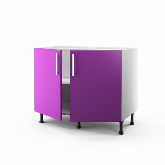 Meuble de cuisine bas violet 2 portes d lice h70xl100xp56 for Meuble cuisine violet