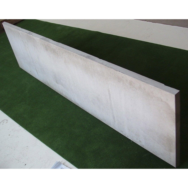 Plaque pour clôture droite en béton pleine, L.192 x H.50 cm x Ep.33 ...
