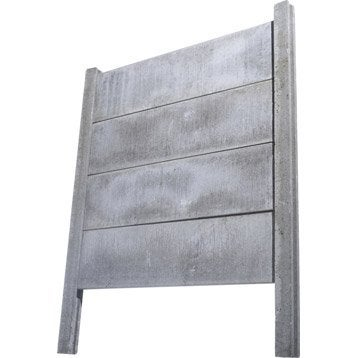 Poteau droit pour clôture en béton pleine, L.260 x H.260 cm x Ep.120 mm