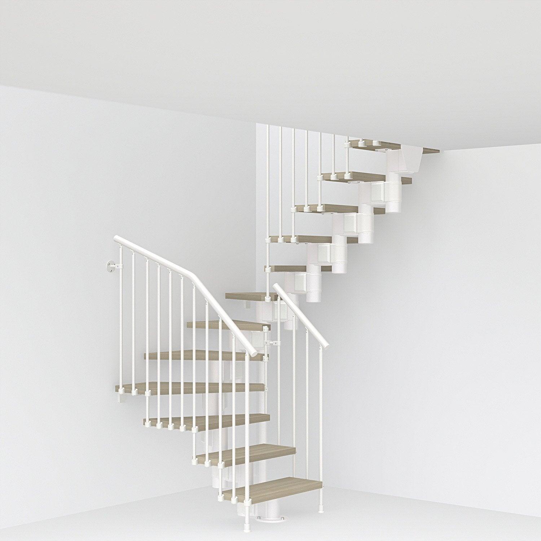 Escalier double quarts tournants Long structure acier marche bois PIXIMA