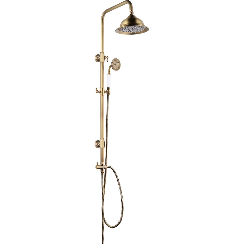 Colonne de douche sans robinetterie, ROUSSEAU Retro vieux bronze