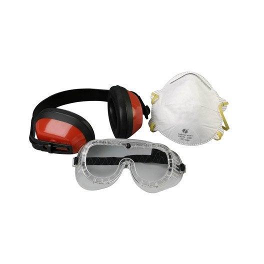 Lot de 3 pi ces de protection casque masque et lunettes - Cloture anti bruit leroy merlin ...