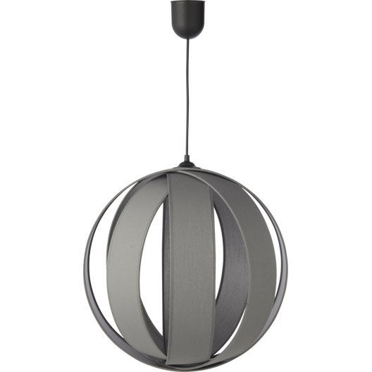 Suspension contemporain anneaux coton gris galet n 3 1 x 20 w inspire leroy - Suspension new york leroy merlin ...