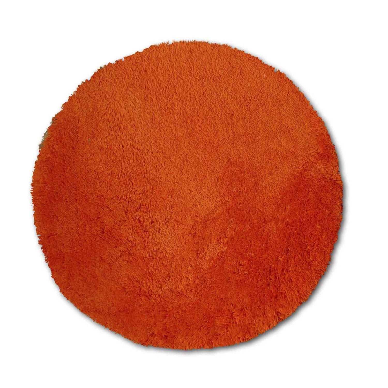 tapis orange shaggy agathe diam650 mm - Tapis Orange