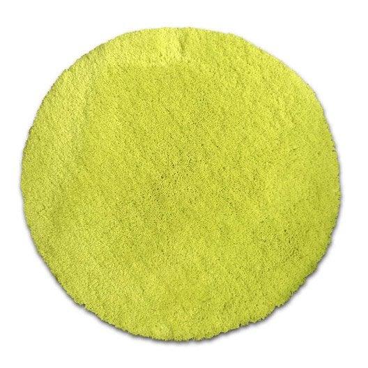 Tapis shaggy agathe jaune anis n 4 diam tre 65 cm - Tapis sur mesure leroy merlin ...