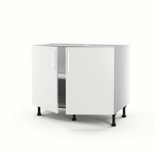 meuble de cuisine bas blanc 2 portes délice h.70 x l.100 x p.56 cm