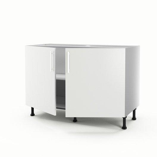 meuble de cuisine sous-évier blanc 2 portes délice h.70 x l.120 x