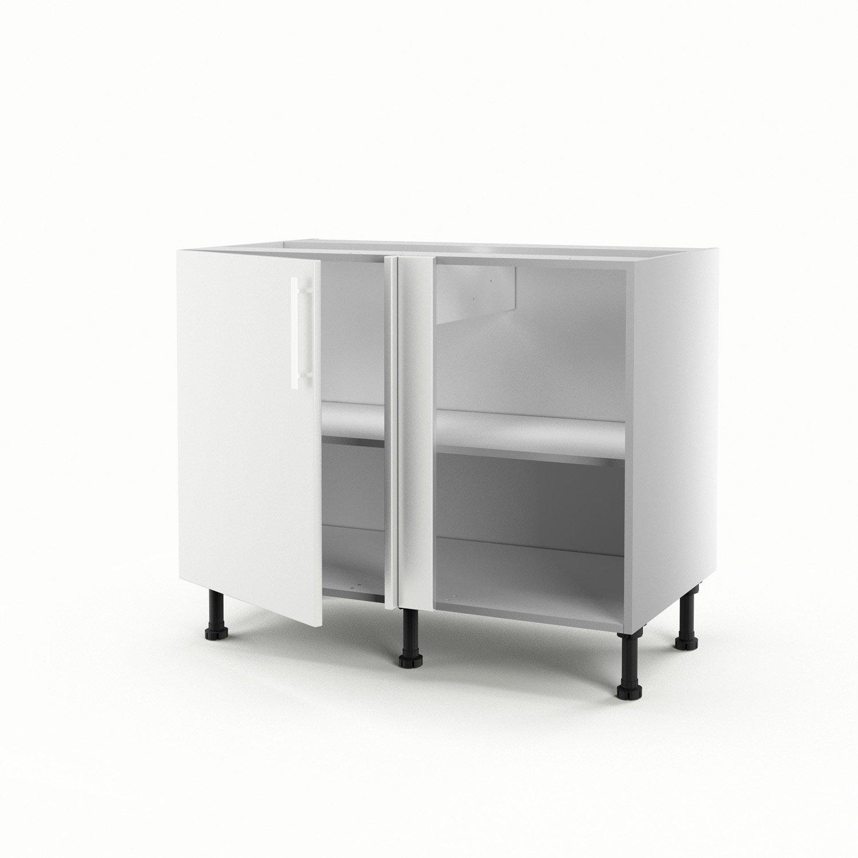 Meuble de cuisine bas d\'angle blanc 1 porte Délice H.70 x l.100 x P ...
