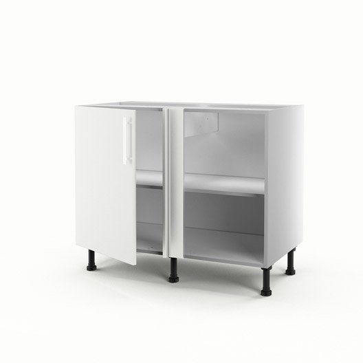 meuble de cuisine bas d 39 angle blanc 1 porte d lice x. Black Bedroom Furniture Sets. Home Design Ideas