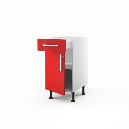 Idee Deco Chambre Bebe Hello Kitty : Meuble de cuisine bas rouge 1 porte + 1 tiroir Délice H70 x l40 x P