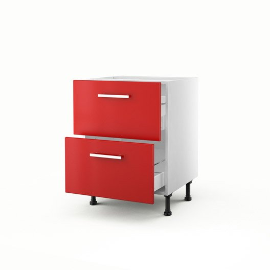 Meuble de cuisine bas rouge 2 tiroirs d lice x x for Element bas de cuisine