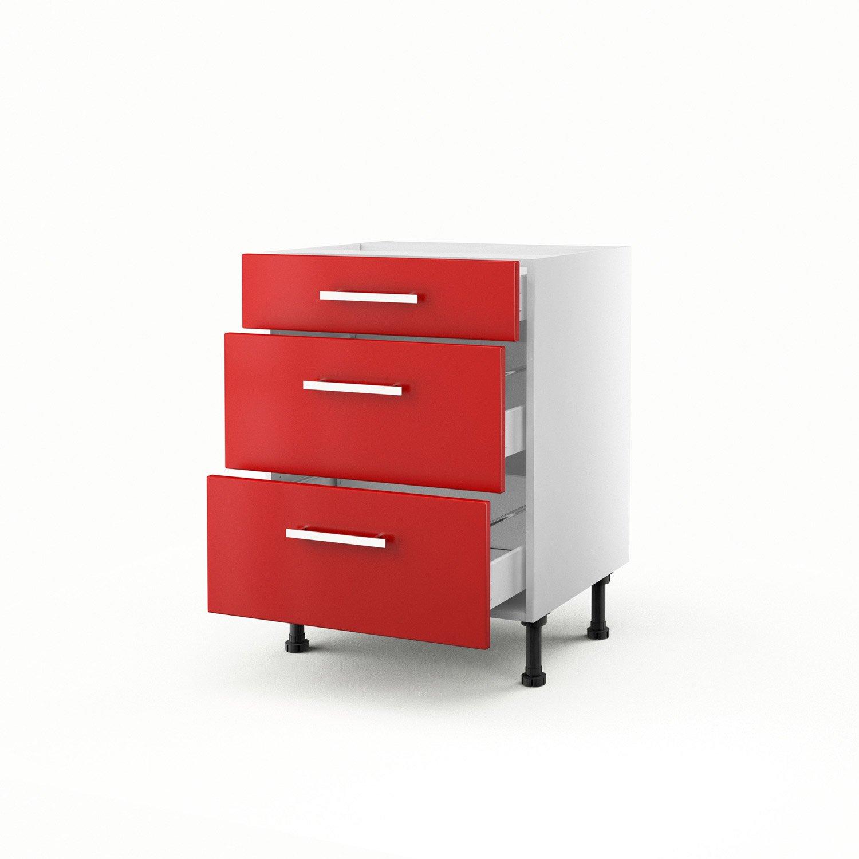 meuble de cuisine bas rouge 3 tiroirs dlice h70 x l60 x p56 cm