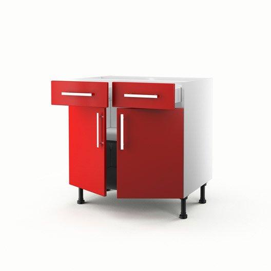 Meuble de cuisine bas rouge 2 portes 2 tiroirs d lice h for Meuble bas cuisine 2 portes 2 tiroirs