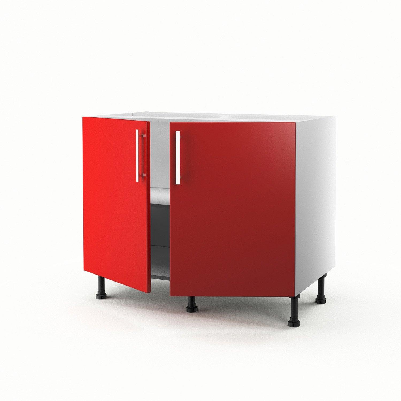 Meuble de cuisine bas rouge 2 portes d lice x x for Meuble cuisine 2 portes