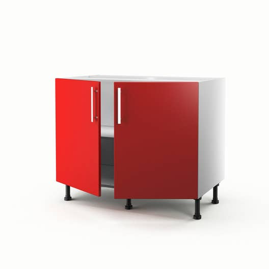 meuble de cuisine bas rouge 2 portes d lice x x cm leroy merlin. Black Bedroom Furniture Sets. Home Design Ideas