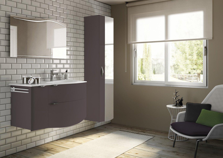 Meuble de salle de de bains et colonne de rangement couleur chocolat ...