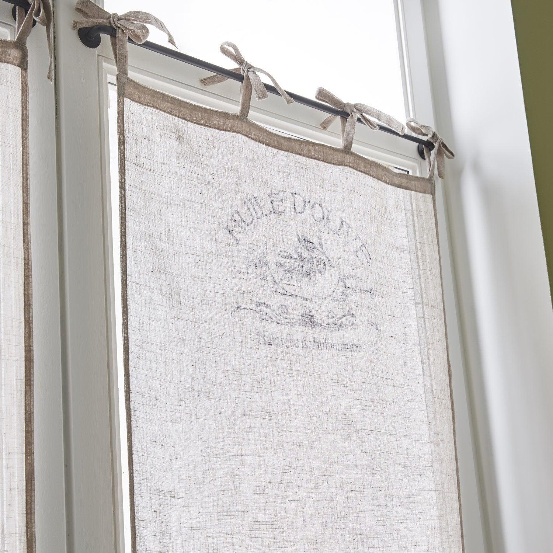 Paire de vitrages tamisant petite hauteur, Huile Olive, écru, l.60 x H.120 cm