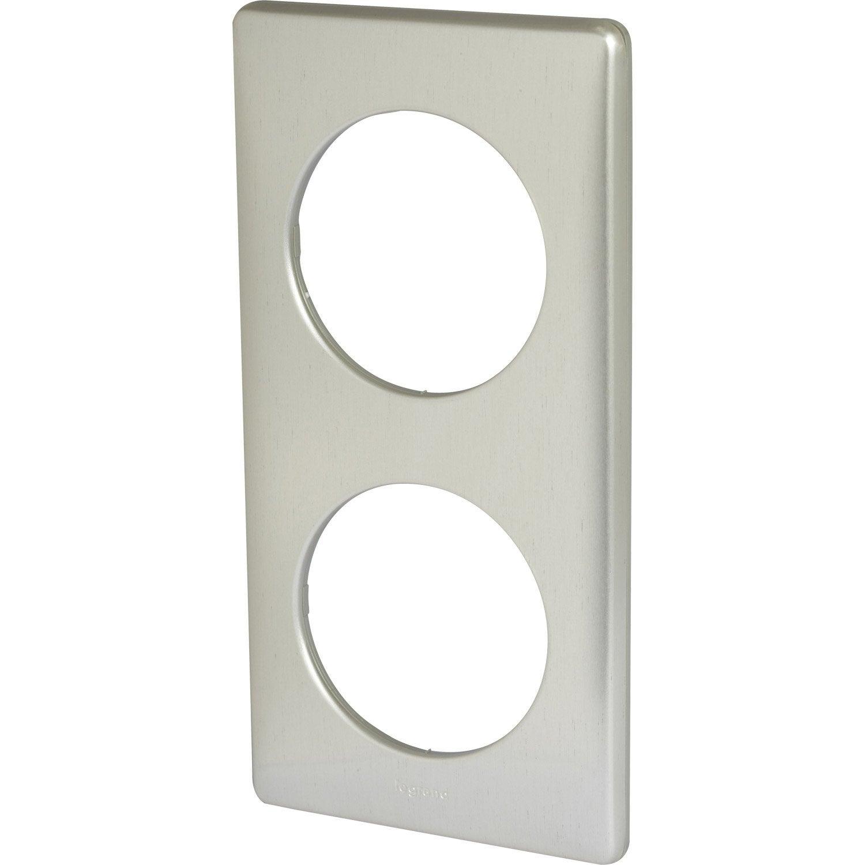 plaque double c liane legrand titane leroy merlin. Black Bedroom Furniture Sets. Home Design Ideas