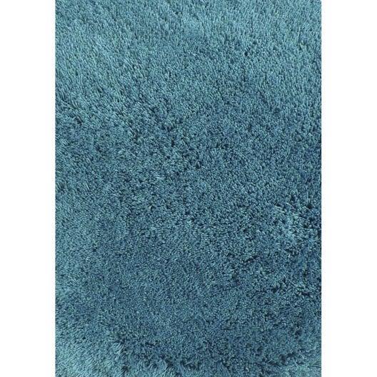 Tapis bleu shaggy Agathe, l.120 x L.170 cm