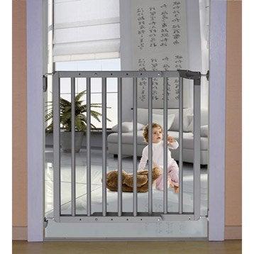 Barrière de sécurité enfant Olympos gris bois, long. min/max 70/106 cm, H70 cm