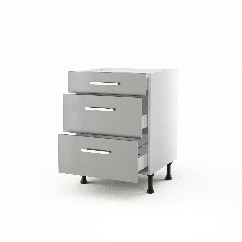 meuble de cuisine bas gris 3 tiroirs délice h.70 x l.60 x p.56 cm