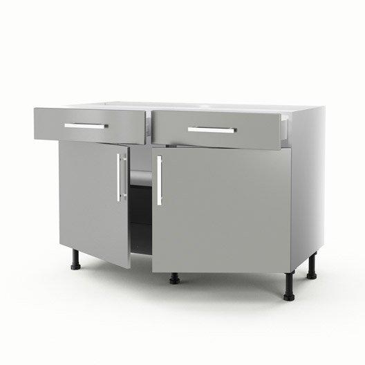 Meuble de cuisine bas gris 2 portes 2 tiroirs d lice h for Meuble bas de cuisine 2 portes 2 tiroirs