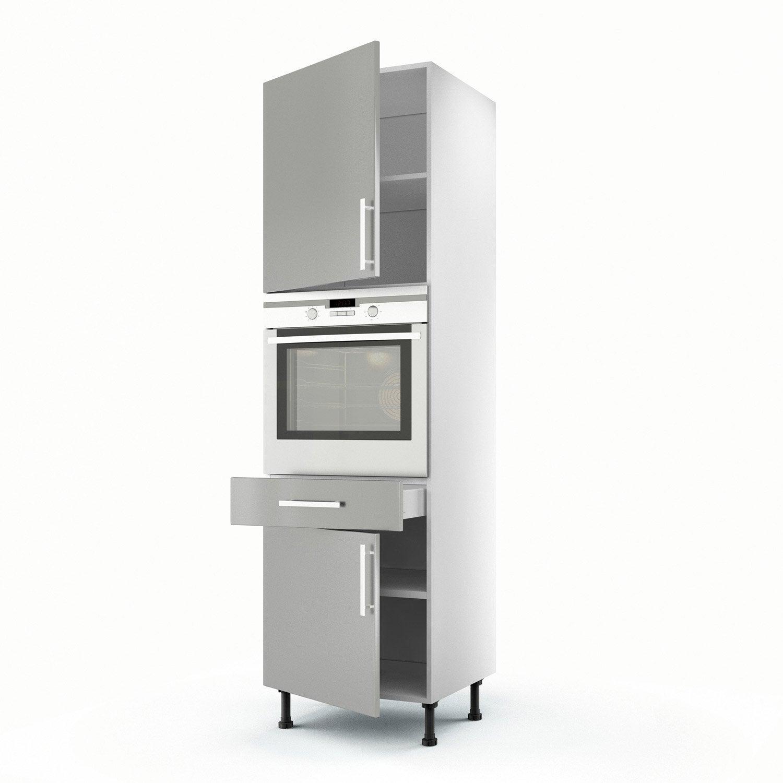 Meuble de cuisine colonne gris 2 portes 1 tiroir d lice for Meuble colonne a tiroir